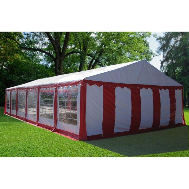 Partytält 6 x10 m PVC röd/vit