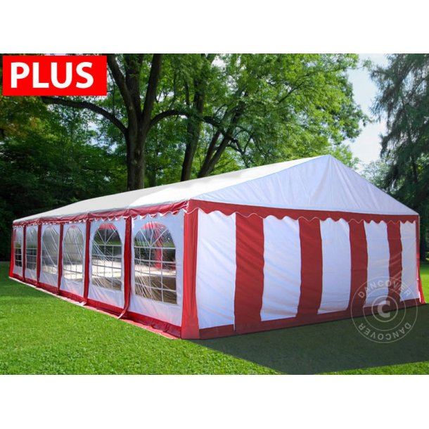 Partytält Plus 6x12 m PVC röd/vit