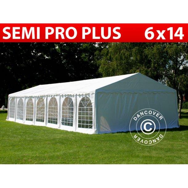 Partytält Semi PRO Plus 6x14 m PVC Hvidt